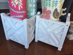 Pair of Large White Wooden Chippendale Planters - $50.00
