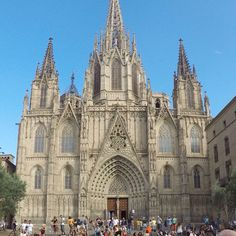 Cathedral in Barcelona on a beautiful day! A must see