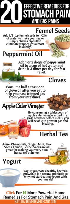 20 home remedies for stomach pain and gas to help you relieve your symptoms fast! Gas is very painful but don't worry, there are many easy and effective home remedies to help you out! Natural Headache Remedies, Natural Health Remedies, Natural Cures, Natural Healing, Home Remedies For Colds For Babies, Cold Home Remedies, Holistic Remedies, Herbal Remedies, Pilates