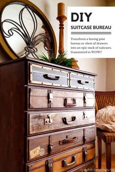 "Transform a boring chest of drawers into an amazing luggage stack. Budget friendly tutorial and ""how to"" at a Crafty Mix"