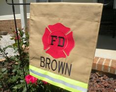 Personalized Firefighter Garden Flag, Fireman yard flag Gift For Him, Fire Department, Tan or Black Turnout Bunker Gear Style, Memorial gift Firefighter Family, Firefighter Paramedic, Firefighter Decor, Volunteer Firefighter, Firefighter Cross, Firefighter Quotes, Fire Dept, Fire Department, My Home Design