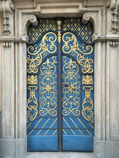 One of the main doors to University of Wroclaw, Poland