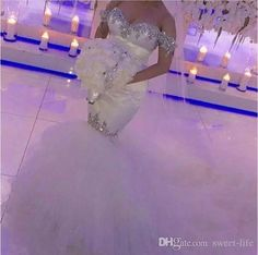 Bling Beads Crystal Sweet Neck Sexy Wedding Dresses Off the shoulder Tulle Mermaid Bridal Gowns Unique Cutting Robe De Mariage Zipper Back - Trendy Crystal Wedding Dresses, Wedding Dresses 2018, Sweetheart Wedding Dress, Lace Mermaid Wedding Dress, Perfect Wedding Dress, Mermaid Dresses, Bridal Dresses, Mermaid Sweetheart, Tulle Wedding