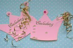 Einladungskarte Prinzessinnen Geburtstag kostenlose Druckvorlage