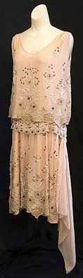 Flapper Dress - c.1925 - Made in France - Beaded chiffon