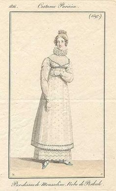 White spotted overdress, 1816 Costume parisien