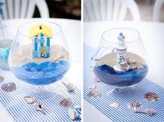 Une décoration de table de baptême thème marin
