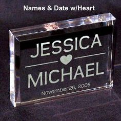 Personalized Wedding Caketopper Keepsakes | Engraved Wedding Gifts from GiftsForYouNow.com Engraved Gifts, Engraved