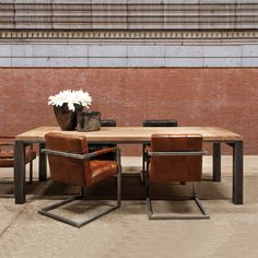 Soho Wood & Metal Industrial Dining Table