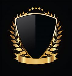 Escudo de ouro e preto com louros de our. Logo D'art, Art Logo, Design Art, Graphic Design, Game Logo Design, Shield Logo, Background Templates, Vector Background, Vintage Posters