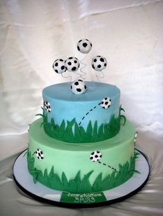soccer team cake - I did this cake for my son's soccer team banquet. I did an 8 and 12 in rd. done in bc with fondant accents. Topper is styrofoam balls covered in fondant. The inspiration for the bouncing balls came from alanahodgson. Soccer Birthday Cakes, Soccer Cakes, Soccer Party, Football Cakes, Soccer Theme, Football Football, Football Birthday, Football Field, Soccer Ball