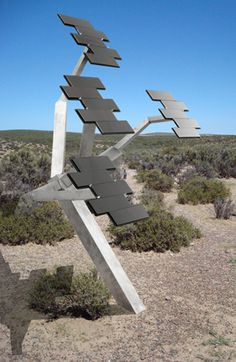 The grid connected solar panels will produce energy from the sun by day. This version of the Solar Tree is capable of producing the electricity for two average energy efficient American Homes, or four European homes.