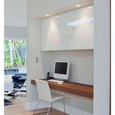 Study nook, white and walnut.