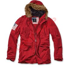 bd04e0b86a3c5 Vintage Explorer Stars & Stripes Jacket in Red colour from Brandit is  available now at Military the UK based online store.