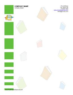 This printable stationery has several stacks of books as well as a border on the left side of green rectangles. Free to download and print