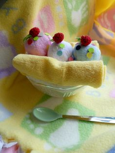 Infant Washcloth Banana Split ...Baby Spoon...Baby Shower...Baby Gift..Boy, Girl or Neutral...Baby Washcloths