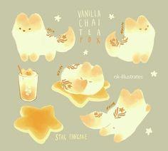 Vanilla Chai Tea Foxes © 2016 Nadia Kim *In Progress* Matc. Cute Animal Drawings, Kawaii Drawings, Cute Drawings, Chat Kawaii, Kawaii Cat, Vanilla Chai Tea, Desu Desu, Illustration Manga, Art Mignon