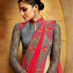 blouse neck models for mod girls Breathtaking style of designer half saree that have been patterned with embroidery designs of blouse neck models for mod. Indian girls would love to dress up in this model of saree that's for sure. Full Sleeves Blouse Designs, Netted Blouse Designs, Saris, Blouse Neck Models, Saree Embroidery Design, Net Blouses, Designer Blouse Patterns, Fancy Sarees, Half Saree