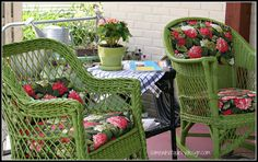 From Somewhat Quirky, cute chairs, and useful tips on refinishing old wicker chairs and how much primer and paint it takes (lots!)