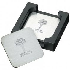 Throw Stainless Steel Coaster Set.  A stylish addition to any table top.  6 stainless steel coasters with non-slip foam bottom.  Stylish caddy. #promotionalproducts #barware #coasters