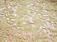 Gold Venice Lace Fabric by Lacebeauty. This is the very typical cheap lace I would find in the run of the mill fabric stores in New York.