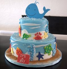 Under the Sea baby shower cake (by www.eddascakedesigns.com)