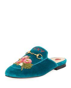 GUCCI PRINCETOWN VELVET FLORAL MULE, TEAL. #gucci #shoes #