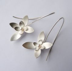 I just love these!   Sterling Silver and Pearl Drop Earrings - Botanical Earrings - Silver Flower Earrings - Succulent Jewelry