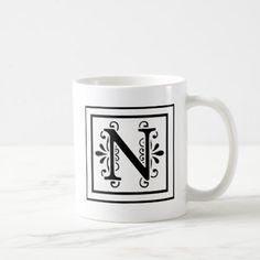 #monogram - #Letter N Monogram Coffee Mug