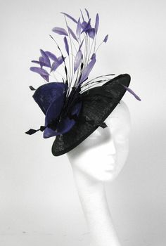 Black and Purple Fascinator Kentucky Derby or Wedding Hat.  165.00 7d02903f55e