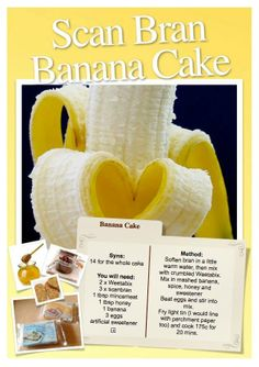 Banana Cake Slimming World Scan Bran Recipe Slimming World Banana Cake, Slimming World Deserts, Slimming World Puddings, Slimming World Syns, Slimming World Recipes, Superfood Recipes, Healthy Recipes, Healthy Meals, Free Recipes