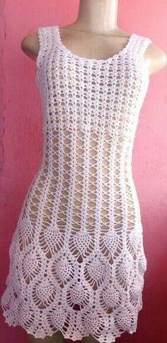 Crochet summer dress without sleeves and very open # Crochet Bikini Pattern, Crotchet Patterns, Dress Patterns, Crochet Beach Dress, Crochet Summer Dresses, Freeform Crochet, Crochet Lace, Pineapple Crochet, Beautiful Crochet
