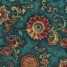 Timeless Treasures Fashion Bellagio Teal Floral Medallion