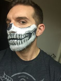 Skeleton on bearded man #skeletonmakeup #skeleton #halloweenmakeup #halloween…