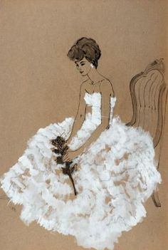 Seated woman in ruffled evening gown -  Larry Salk