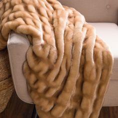 Carmel Mink Faux Fur Throw | Indeed Decor