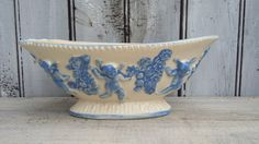 Cherub Planter Console Bowl Blue and White by SweetPetuniaVintage