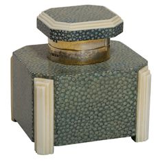 English Art Deco Shagreen & Ivory Silver-mounted Inkwell by G. B. & S | From a unique collection of antique and modern inkwells at http://www.1stdibs.com/furniture/more-furniture-collectibles/inkwells/