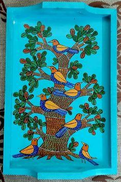 Indian Art Paintings, Acrylic Paintings, Fabric Painting, Diy Painting, Animal Drawings, Art Drawings, Jamini Roy, Wooden Trays, Orange Saree