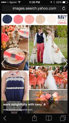 Navy blue, gold, blush and coral
