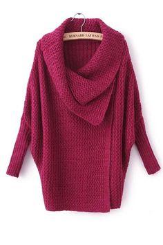 Big lapel pure color wave grain bat sleeve sweater(3 colours)_Sweaters_CLOTHING_Voguec Shop