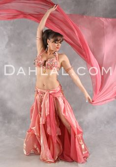 Dahlal Internationale Store - GRAND GALA in Coral and Gold by Designer Eman Zaki, Egyptian Belly Dance Costume, Available for Custom Order, $794.95 (http://www.dahlal.com/grand-gala-in-coral-and-gold-by-designer-eman-zaki-egyptian-belly-dance-costume-available-for-custom-order/)
