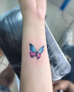 Images of cute butterfly tattoos - Blue Butterfly Tattoo, Butterfly Tattoo Meaning, Butterfly Tattoo Designs, Cute Butterfly, Watercolor Butterfly Tattoo, Small Sister Tattoos, Small Tattoos With Meaning, Small Tattoos For Guys, Wrist Tattoos