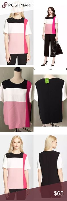 KATE SPADE Colorblock Short Sleeve Top Blouse KATE SPADE Pink Colorblock Short Sleeve Top Blouse More stylish than a t-shirt (but every bit as wearable), the cool hues of this colorblocked top were inspired by neapolitan ice cream, one of our favorite sweet treats.Shades of pink offer a sweet update to a color-blocked tee finished with a streamlined black panel in back 100% polyester. Short sleeves. Crewneck. Color block front. center back zipper with hook & eye. Laying Flat: Length…