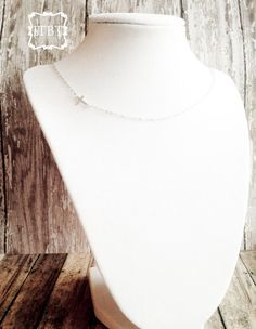 Tiny Sterling Silver Sideways Cross Necklace - Dainty Cross Necklace - Faith Jewelry. $25.00, via Etsy.