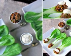 What a beautiful spread this would make at a dinner party...Hoisin Beef on Pak Choi Spoons {via T & Tea Cake}
