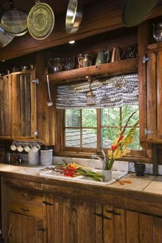 Cabin kitchen, I like it because it still looks like a cabin!