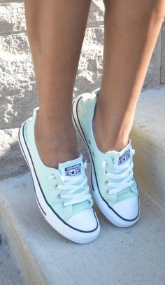 Skirt And Sneakers, Cute Sneakers, Slip On Sneakers, Cute Shoes, Me Too Shoes, Mint Converse, Converse Shoes, Custom Converse, Best Nursing Shoes