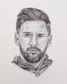 Lionel Messi w wersji rysunkowej portret Football Player Drawing, Soccer Drawing, Football Drawings, Pencil Portrait, Portrait Sketches, Messi Drawing, Messi Tattoo, Lionel Messi Barcelona, Fc Barcelona