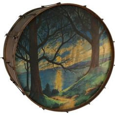 Painted Drum w/ Cabin - Genesee River - Brands 1930s Bedroom, Justin Time, Bath Decor, One Kings Lane, Drums, Scene, Pure Products, Mansion, Objects